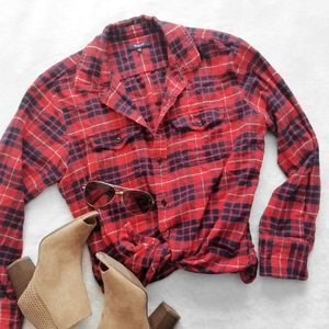 MADEWELL Red Black Flannel Plaid Button Up Shirt